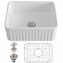 Eridanus 24 White Rectangle Ceramic Apron Farmhouse Kitchen Sink With Strainer