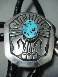 One Of The Best Vintage Navajo Thomas Singer Turquoise Sterling Silver Bolo Tie