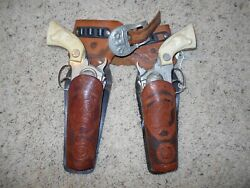 1950's Hubley Die Cast Cap Gun And Leather Holster Set