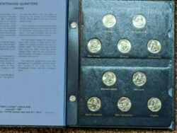 1999-2009 56 Coins State Statehood Quarters With Dc And Us Territories In Book
