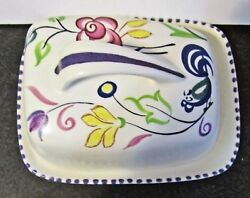 Terrific Vintage Poole Pottery Covered Butter Or Cheese Dish, Hp, Bird And Floral