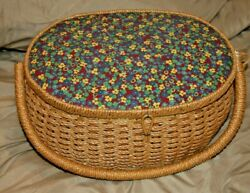 Large Vintage Wicker Floral Sewing Basket Made In Japan With Music Box