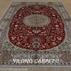 Yilong 6'x9' Handknotted Silk Red Carpet Medallion Living Room Area Rug 1208