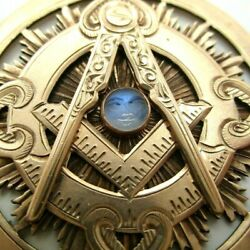 Antique Masonic 10k Yellow Gold Carved Moonstone Face Pendant Watch Fob Manson