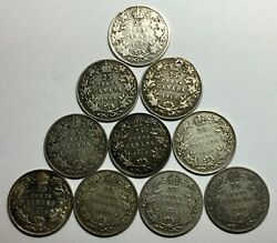 1907 09 10 11 16 17 18 30 33 35 Canada 25 Cent 10 Different Mixed Some Better