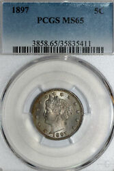 Sweet 1897 Liberty V Nickel That Pcgs Grades Ms65 With Nice Toning 35835411