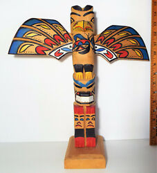 VINTAGE 14quot; SIGNED WINGED TOTEM POLE NATIVE AMERICAN $74.99