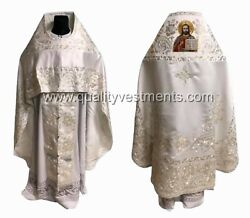 White Embroidered Priest's Vestment Icon Of Christ Russian Any Color To Order
