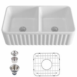 33 White Ceramic Double Basin Apron Farmhouse Kitchen Sink With Strainer And Grid
