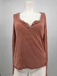 Free People Womens Cuff Coral Thermal Crochet Lace Henley Boho Hippie Small