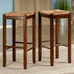 29 Height Traditional Square Bar Stools Solid Wood Kitchen Seat Brown Set Of 2