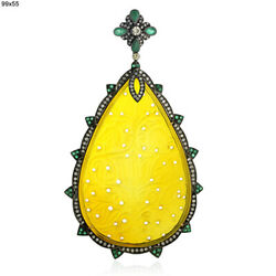 76.98ct Carved Agate Emerald Diamond Pear Shape Pendant 18kt Gold Silver Jewelry