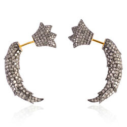 7.5ct Natural Pave Diamond 18kt Gold Tunnel Earrings 925 Sterling Silver Jewelry