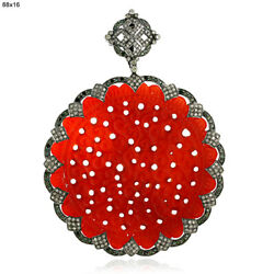 83.45ct Carved Agate Diamond Gold 925 Sterling Silver Pendant Fashion Jewelry