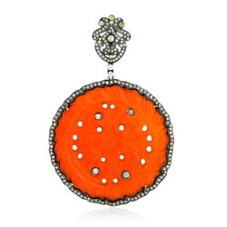 57.24ct Agate Pave Diamond 18kt Gold 925 Sterling Silver Carved Pendant Jewelry