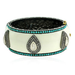6.5ct Turquoise Pave Diamond 18kt Gold 925 Sterling Silver Enamel Bangle Jewelry