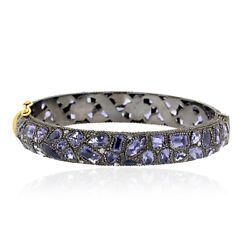 21.7 Ct Iolite Pave Diamond 18kt Gold .925 Sterling Silver Bangle Women Jewelry