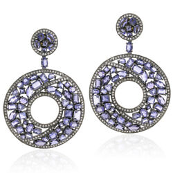 21.7ct Iolite Pave Diamond 18kt Gold 925 Sterling Silver Dangle Earrings Jewelry