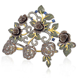 18k Gold 6.16ct Pave Diamond Blue Sapphire Four Finger Floral Ring 925 Silver