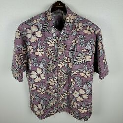Maui And Sons Men Xl Hawaiian Shirt S/s Rayon Rare Reverse Floral Print Mint