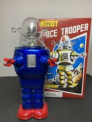 Tin Tom Limited Edition Robot Space Trooper Blue Red Toy 266/1999