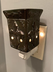 Scentsy Electric Wax Warmer Charity Plug In Brown Cross Detail Works Well BGS