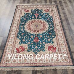 Yilong 5and039x8and039 Handknotted Silk Area Rug Medallion Blue Eco Friendly Carpet Y313ab