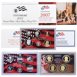 2007 S Proof Set Original Box And Coa 14 Coins 90 Silver Quarters Kennedy Us Mint