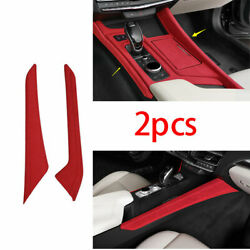 Fit For Cadillac Ct5 2019-2020 Abs Red Suede Gear Shift Both Side Cover Trim 2x