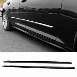 Fit For Cadillac Ct5 2019-2020 Abs Black Side Skirts Extension Spoiler Lip 2pcs