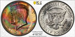 Ms65 1964 50c Kennedy Silver Half Dollar Pcgs Secure- Monster Rainbow Eor Toned