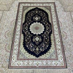 Yilong 3and039x5and039 Medallion Handknotted Silk Rug Home Interior Floral Carpet 224b