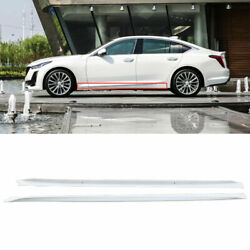 Fit For Cadillac Ct5 2019-2020 Abs White Side Skirts Extension Spoiler Lip 2pcs