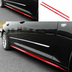 Fit For Cadillac Ct5 2019-2020 Abs Red Side Skirts Extension Spoiler Lip 2pcs