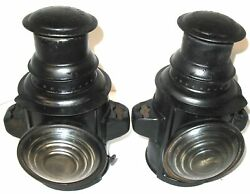 Pair Dietz Steel Can Shaped Oil Side Lamps Off Bulldog Mack Truck White Ihc