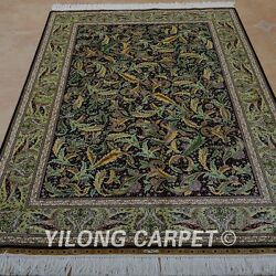 Yilong 4and039x6and039 Handknotted Silk Rug All-over Home Decor Green Villa Carpet 0681