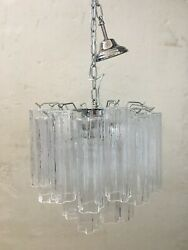 Contemporary Murano Glass Tronchi Chandelier With A Kromo Metal Frame