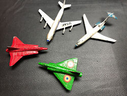 Set Of 4 Vintage Small Toy Metal Airplanes Boeing 707 727 As Is Cragstan