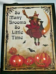Halloween Vintage Style Light Up Picture So Many Brooms So Little Time Witch