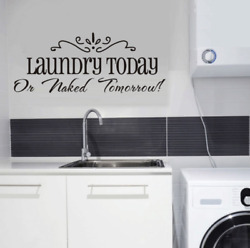 Laundry Today Quote Laundry Room Vinyl Removable Wall Sticker Art DIY Decal US