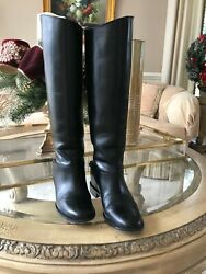 Christian Louboutin Black Cate Chain Trimmed Leather Riding Boot Size Us 7