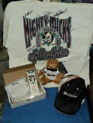 Vintage Nhl Anaheim Mighty Ducks Signed Hat And Shirt Disney Inaugural Ticket Lot