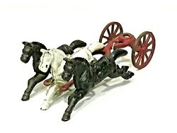 Antique Vintage Cast Iron 3 Horses With Wagon Connectio Toy 7.25l