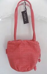 Nwt Furla Perforated Leather Bag Small Salmon Italy Double Strap Pink Pouch Snap