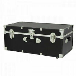 Black Wheeled Lockable Trunk Chest 30quot; Vinyl Finish Wood Mobile Dorm Storage