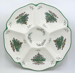 Vintage Spode Christmas Tree S3324 6 Part Section Serving Relish Tray Dish 11.5