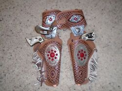 1950's Hubley Western Die Cast Cap Gun And Leather Holster Set