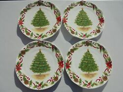 4 Maxcera Tree And Bough Christmas Tree Dinner Plates 10 1/2 Excellent