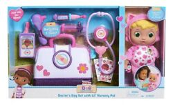 New Doc Mcstuffins Lil' Nursery Pal And Toy Hospital Doctor's Bag Set Kitty Rare