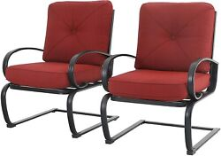 Outdoor Patio Dining Chairs Set Of 2 With Cushions Metal Spring Rocking Chairs